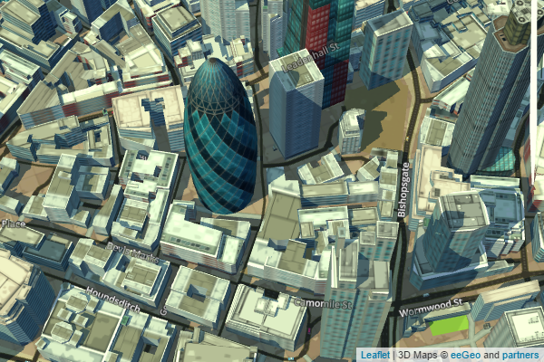 eeGeo.js 3D Map of the Gherkin, London