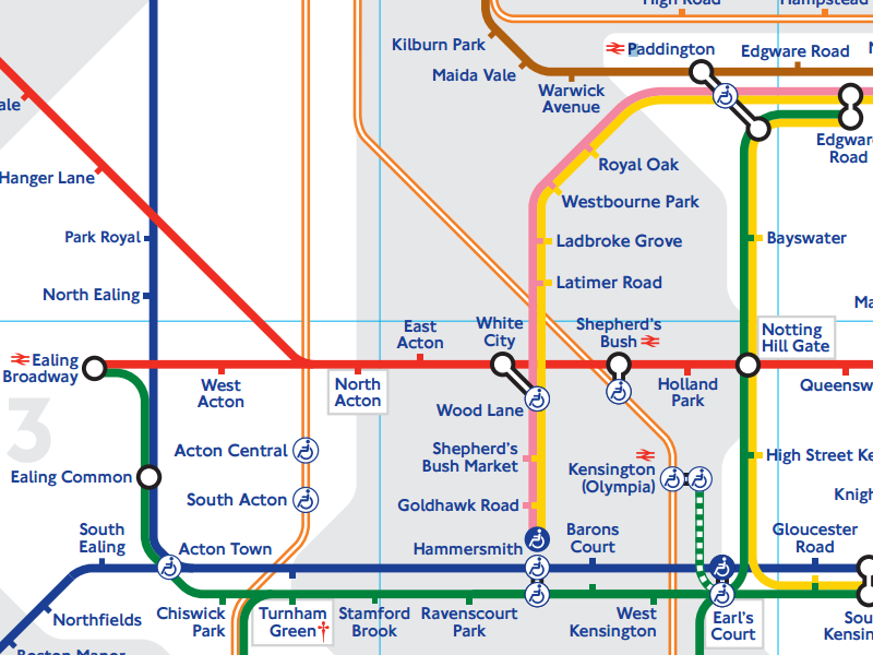 A section of the London Underground diagram
